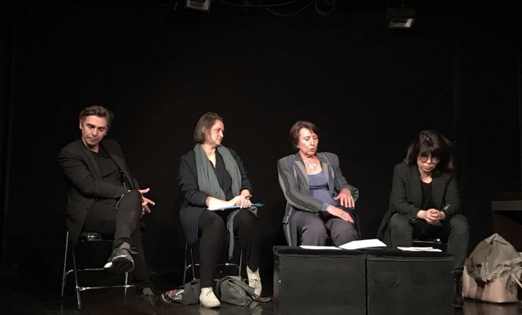 """Emmanuel Demarcy-Mota, Sophie Viaris de Lesegno, Marie Bernanoce, Isabelle Barbéris, les intervenants de cette rencontre de l'ANRAT """"Création et (auto)censure"""""""