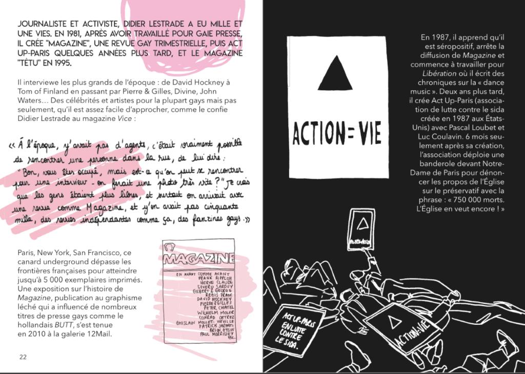 Portrait de Didier Lestrade d'Act'Up dans 40 LGBT+ qui ont changé le monde de Florent Manelli, éditions Lapin éducation diversité