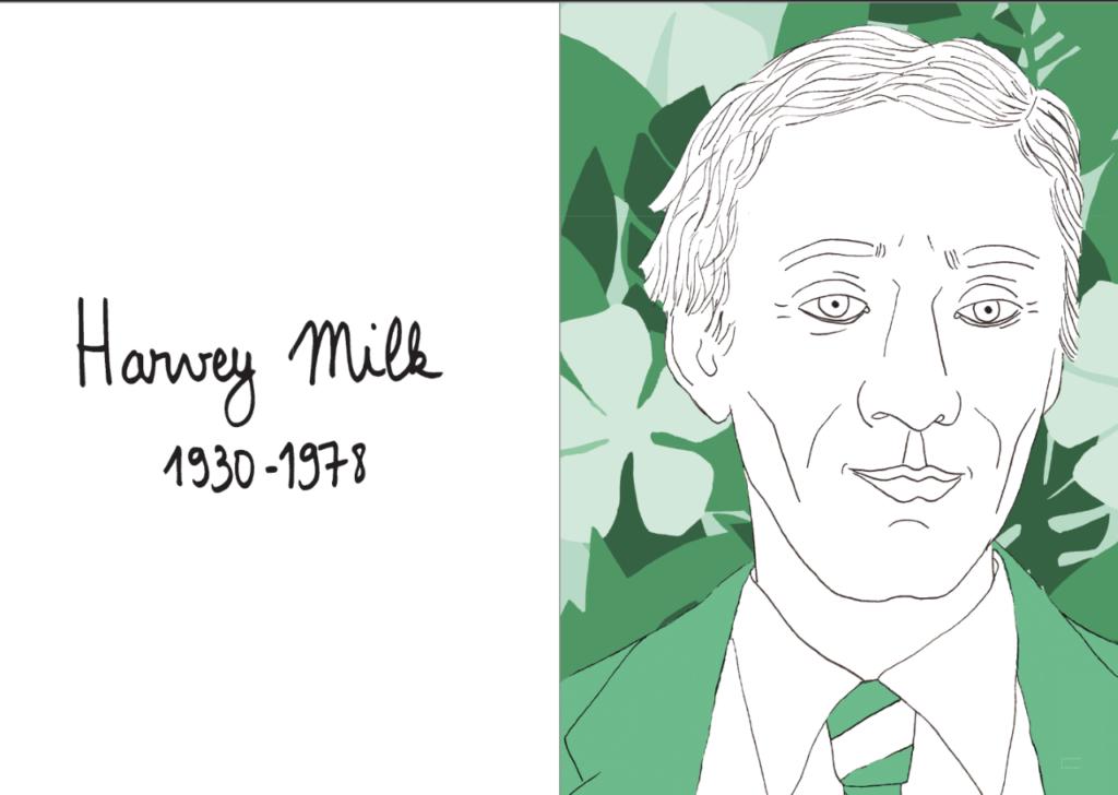 Portrait de Harvey Milk dans 40 LGBT+ qui ont changé le monde de Florent Manelli, éditions Lapin