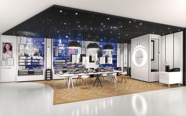 La boutique Lancôme au Printemps. Scénographie du luxe