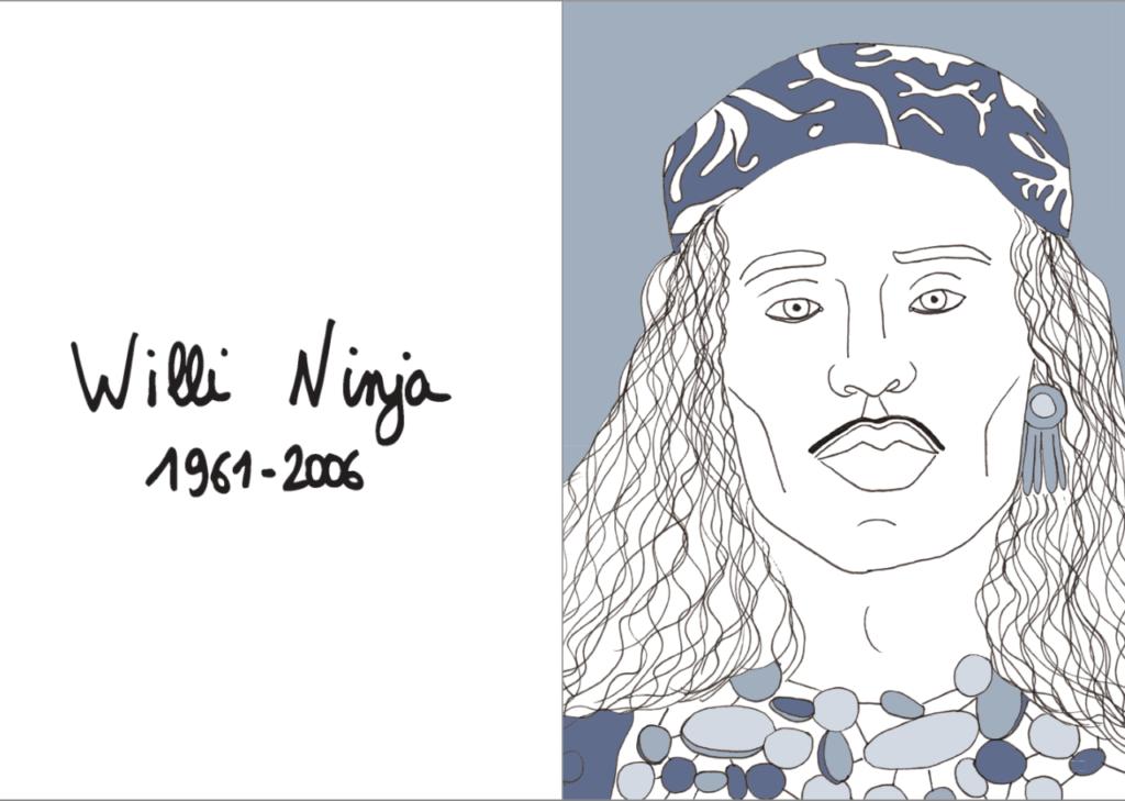 Portrait de Willi Ninja dans 40 LGBT+... de Florent Manelli, éditions Lapin éducation diversité
