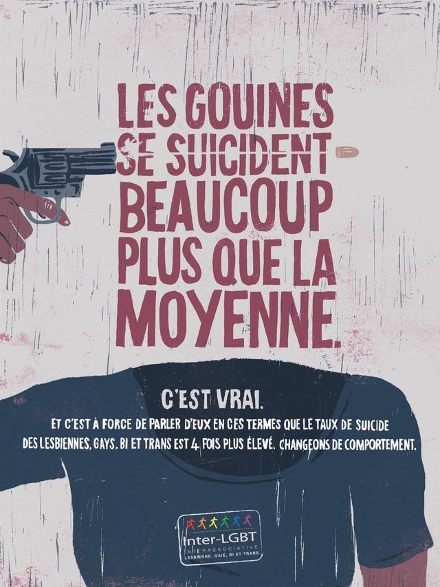 Affiche pour l'Inter-LGBT qui met en avant les cas élevés de suicides chez les personnes LGBT Homophobie